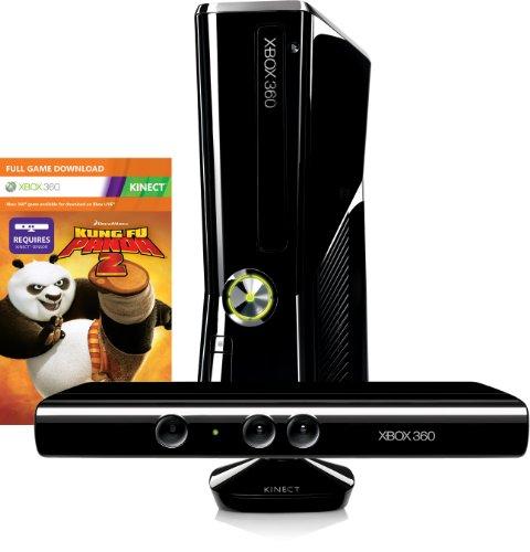 Xbox 360 - Konsole Slim 250 GB inkl. Kinect Sensor, Kung Fu Panda 2 (Download) und Kinect Adventures, schwarz-glänzend Kinect Sensor, Xbox 360 S