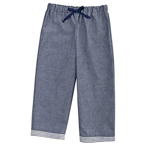 Sugarapple Schlafanzughose Pyjama für Jungen und Mädchen in Oxford Dunkelblau, Größe 104/110, 100% Baumwolle, Made in Germany