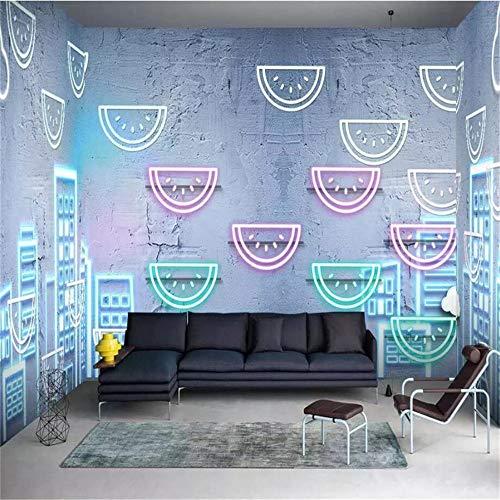 REAGONE Wallpaper3D Wallpaper Neon Blue City Thema Zimmer Benutzerdefinierte Ktv Bar Internet Cafe Ganze Haus Hintergrund Wandmalerei, 400X280 Cm (157,5 By 110,2 In)