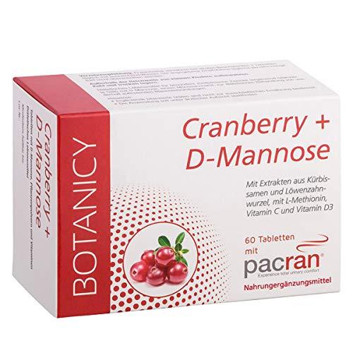 Cranberry + D-Mannose - Tabletten für Harnwege und Blase - plus Vitamin C + D, Kürbissamen- und Löwenzahnwurzel-Extrakt - 60 St. (Monatspack)