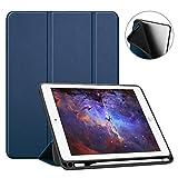 Fintie SlimShell Hülle für iPad 9.7 2018 - Superleicht Soft TPU Rückseite Abdeckung Schutzhülle mit eingebautem Apple Pencil Halter, Auto Schlaf/Wach für iPad 6. Generation, Marineblau