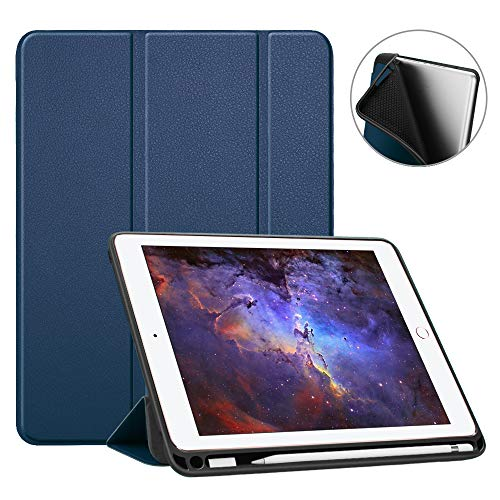 Fintie SlimShell Hülle für iPad 9.7 2018 - Superleicht Soft TPU Rückseite Abdeckung Schutzhülle mit eingebautem Apple Pencil Halter, Auto Schlaf/Wach für iPad 6. Generation, Marineblau (4. Generation Für Tastatur Ipad)