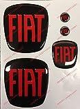 Grande Punto Logo vorne, hinten + Lenkrad + 2 Wappen-Schlüsselanhänger. Für Motorhaube und Kofferraum. Aufkleber harzbeschichtet, Effekt 3d. Verzierungen Farbe schwarz
