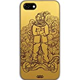 Inkad Apple iPhone 7 Pure Maple Wood in Dude on Hoverboard Laser Engraved on Mobile Case Cover (Gold)