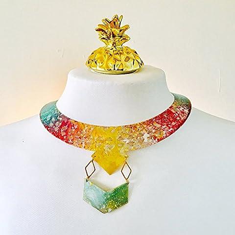 Mondschein geometrische Schellfisch Halskette - Halbmond Mond Schuh Halskette für Frauen - Farbe Seite des Mondes - Bohemian gypsy Burning festival neck piece