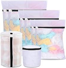 Wäschenetz für Waschmaschine,  WILWOLF 8 Pack Mesh Wäschesack Waschbeutel Wäschetasche Set mit Reißverschluss 5 Größen wiederverwendbare ideal für Feinwäsche, Unterwäsche, Socken, BHs, Schuhe für Home und Reise, Hotel (weiß)