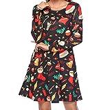 Soupliebe Damen Damen Tasche Langarm Rundhalsausschnitt Weihnachten Print Minikleid Abendkleider Cocktailkleid Partykleider Blusenkleid