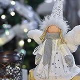 Victor's Workshop 18cm Textil Weihnachtsdeko Figuren Engel Weiße Sitzender Puppe Weihnachtsschmuck Gefrorener Winter