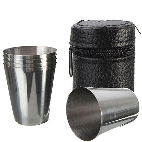 Yongse 4 pezzi in acciaio inox Camping viaggio chiavetta della tazza della tazza di caffè Bere birra con