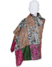 Indistar Vintage Silk Hand Quilted Kantha Hand Work Dupattas Reversible Scarves Scarf Patchwork Multicolor(80200... - B0767P7V1Z
