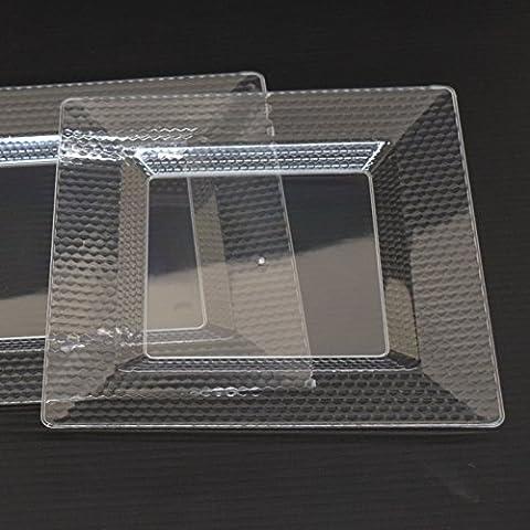 Assiettes et bols en plastique jetables de qualité en design élégant diamant Transparent, côté/Assiettes–Soupe/Bols à Dessert 30Pack, Plastique, claire, 10.5