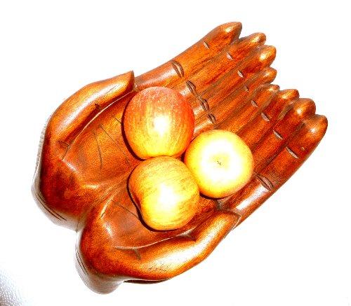 Dekoschale Obstschale Ablageschale Holzschale Hände handgeschnitzt 30x21cm