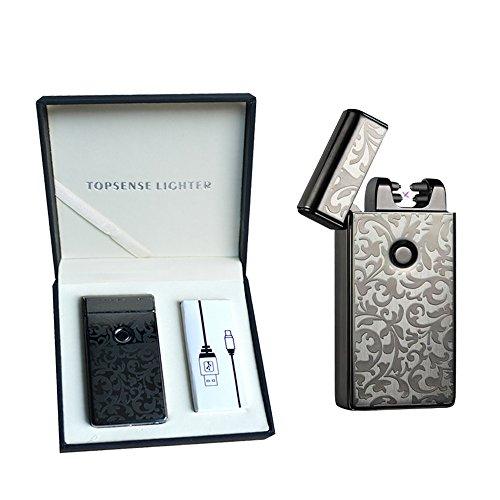 A prueba de viento electrónico doble arco más ligero encendedor de cigarrillos USB recargable sin llama Arc Cigar Lighter (Negro)