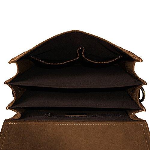 S-ZONE Sacchetto di spalla del messaggero dello zaino del cuoio genuino del cavallo pazzesco dell'annata del computer portatile 14 pollici Marrone chiaro