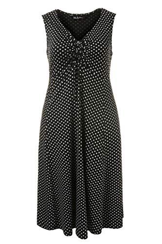 Ulla Popken Damen große Größen   Kleid mit Punkten   V-Ausschnitt mit Raffung und Band   ausgestellter Saum   Ärmellos   bis Größe 58+   schwarz 54/56 704730 10-54+