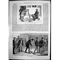 Stampa Antica degli Schizzi Nelle Fotografie E nell'Esercitazione dei Prigionieri di Newgate del 1873 - Antichi Da Collezione Delle Fotografie