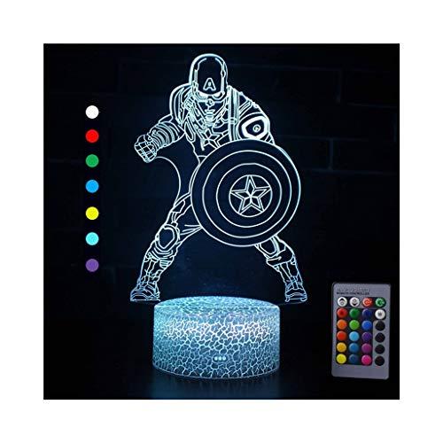 Ilusión óptica 3D Luz nocturna Luz LED Luz del estado de ánimo para niños Lámpara de mesa de cabecera remota Interruptor táctil Cambio de color Regalo Avengers Capitán América Capitán Hulk serie