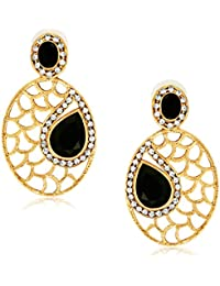 Spargz Designer Black Alloy AD Stone Drop Earring For Women AIER 549