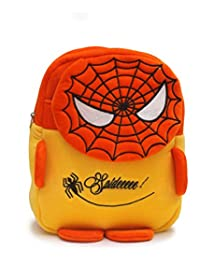 Bazaar Pirates Spider Man Cute Soft Toy School Bag For Kids (Orange, Yellow)