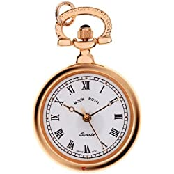 Pendant Watch Round Gold Finish Open Face with Roman Numerals Quartz
