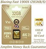 Amplim uhs-ii SD Card: ultra veloce 285 MB/s (1900 x), V60, U3, scheda di memoria SDXC Classe 10 per 4 K, Full HD, 3D, HDR, 360 video oro Gold 32GB SD