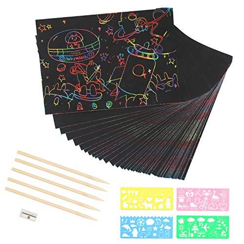 Scratch Art LANMOK Rascar Creativas Papel Manualidades con Rabados Dibujo scratch láminas decoración DIY para niños pintar rascando dibujos infántiles coloridos con plantillas y pencil de madera