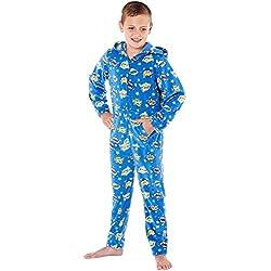 Pijama de una pieza, unisex con capucha, estampado de cómics, con forro polar Azul azul 9/10 Años