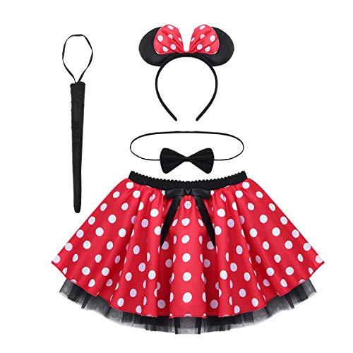 CHICTRY Kinder Mädchen Kleidung Set Maus Kleid Kostüm Tutu Rock mit Polka Dots, Haarreif, Fliege, Schwanz Outfits Kostüm Weihnachten Karneval Geburtstag Party Rot 122-134/7-9 Jahre (Sieben Von Neun Kostüm)