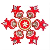 Curiocity Handicraft Designer Rangoli ,Red Color - 11 Inch Dia - 7 Piece Set - Packed In Sturdy Crystal Box