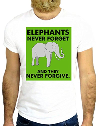 T SHIRT Z0912 ELEPHANT NEVER FORGET AND NEVER FORGIVE COOL FUNNY ANIMAL PET GGG24 BIANCA - WHITE XL