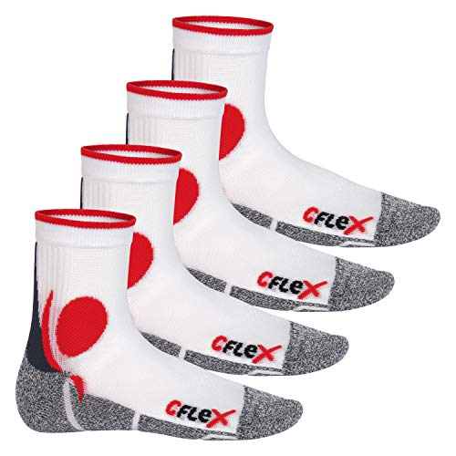 CFLEX Running Socks - 4 Paar Laufsocken - Weiss/Rot 43-46