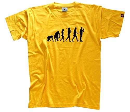 Shirtzshop–Maglietta Evoluzione, edizione standard The Big Bang Theory, Uomo, Standard Edition The Big Bang Evolution Theory T-Shirt  L, arancione, L giallo