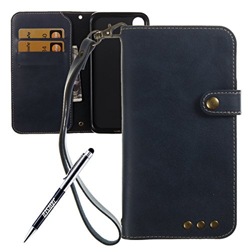 iPhone X Custodia in Pelle, Cover Custodia Per iPhone X, JAWSEU Retro Colore solido [Shock-Absorption][Anti Scratch] Wallet PU Leather Folio Case Cover per iPhone X Custodia Portafoglio con Super Sott Blu scuro