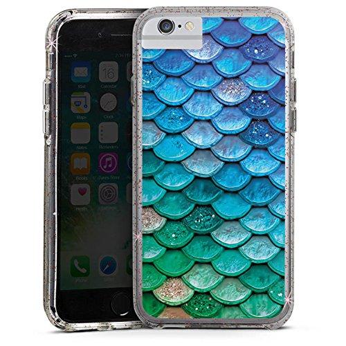 Apple iPhone X Bumper Hülle Bumper Case Glitzer Hülle Schuppen Meerjungfrau Mermaid Bumper Case Glitzer rose gold