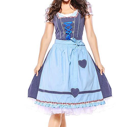 ToDIDAF Kleid mit Verband und Schürze für Damen Frau Mädchen Oktoberfest Thema Bardame Cosplay Kostüme für Halloween Oktoberfest Blau M