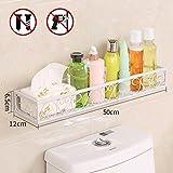 Badezimmer- / Küchenregal, aus Stahl, zum Kleben, kein Bohren notwendig, weiß, 50*12*6.5CM