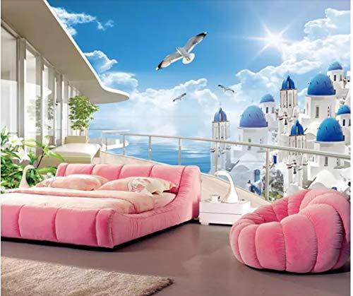 VVBIHUAING 3D Dekorationen Wand Wandbilder Aufkleber Tapete Ägäische Landschaft Schlafzimmer Wohnzimmer Sofa Art Kinderküche (W) 140x(H) 100cm