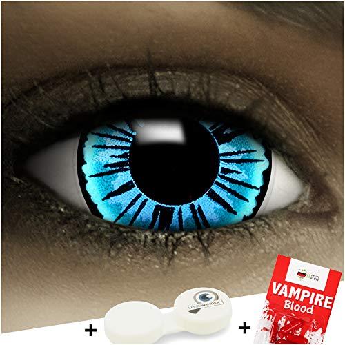 FXCONTACTS Farbige Kontaktlinsen Engel Maxi Sclera, in blau inklusive Kunstblut Kapseln und Kontaktlinsenbehälter, 1 Paar Linsen (2 Stück) weich, ohne Stärke