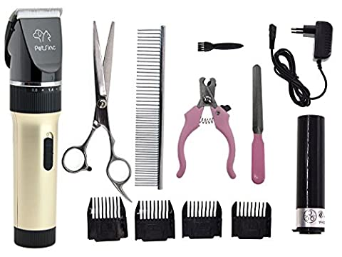 Professional Upgraded Pet Hair Trimmer - Rechargeable Low Noise Cordless Pet Dogs and Cats Electric Clippers, Grooming Trimming Kit Set (13 in 1)