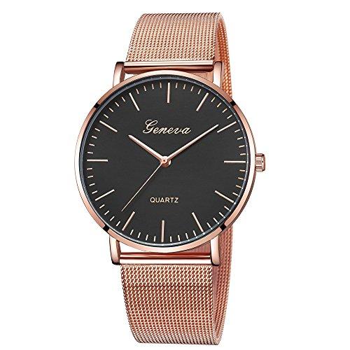 Bestow Relojes de Pulsera de Pulsera de Acero Inoxidable de Cuarzo para Mujer Ginebra Cl¨¢sica(Rosa calienteG)