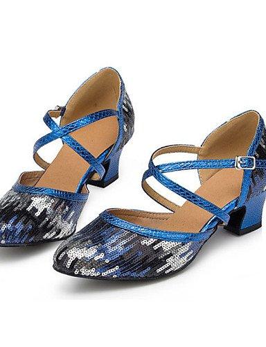 ShangYi Nicht Anpassbare - Niedriger Absatz - Beflockung - Latin - Damen  blue-us5 / eu35 / uk3 / cn34  blue-us5...