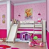 Jugendzimmer Kinderzimmer Hochbett Spielbett mit Rutsche 80 x 190 cm 65112 creme / bordeaux