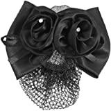 Sourcingmap Polyester Women Bow Ribbon Metal Snood Net/ Hair Clip, Black