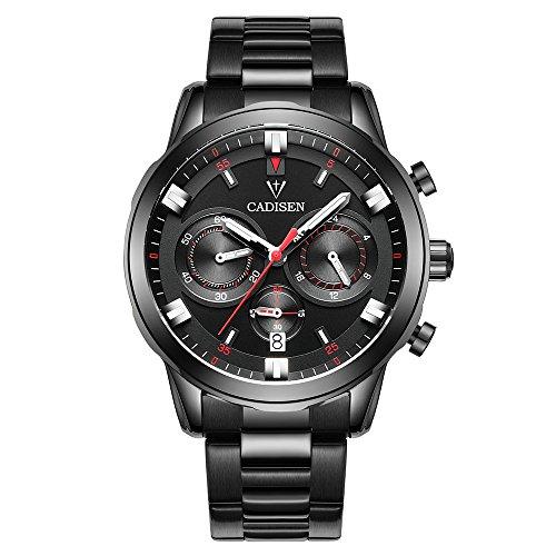 ZwbfuCadisen Uhr Herren Sport Chronograph Uhr Quarz Armbanduhr Business wasserdichte Uhr Männer -