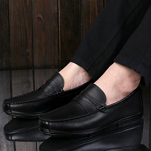 Minitoo Mens Striped Slip-On Moccasins Spring Casual Loafers Black