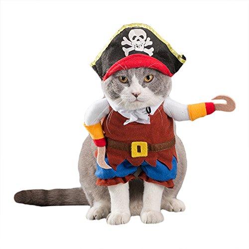 (ZooBoo Hunde Katzen Haustier Kleidung Kostüm Süß Niedlich Puppy Miezen Jacken Gestaltwandel Bekleidung Hemden Kleider Anzüge Outfit für Halloween Weihnachten (S, Pirat))