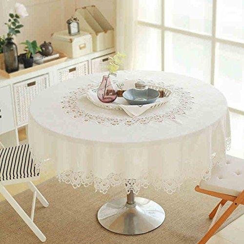 American Country Spitze bestickt Tischdecken Tisch rund Kaffee Tischdecke Tischdecken Handtücher Platzsets Tischset Untersetzer, Baumwollmischung, 5118 white, 120 round (50~70 round table)