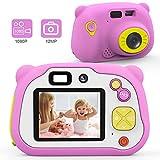 Mansso Macchina Fotografica per Bambini con 16GB Carta TF Inclusa,Fotocamera Videocamera Digitale Portatile Obiettivo Doppio con Funzione Selfie,2 Pollici LCD,HD 1080P (Rosa)