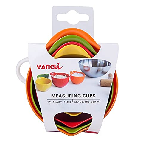 Measuring Cups Set Multi-Colored Nesting ABS Plastic Set of 4