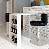 SENLUOWX Hochglanz Tisch Bar Esstisch mit 3Ablagen weiß